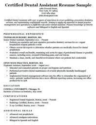 Dental Assistant Resume Templates Dental Resume Examples Certified Dental Assistant Resume Sample