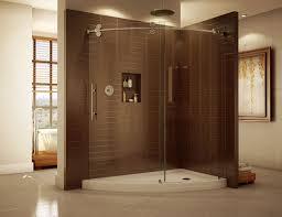 frameless corner enclosure with curved sliding glass doors base fleurco kinetic line