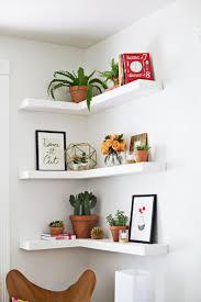Decorations:Black Corner Zig Zag Wall Shelf Idea Agreeable Three Level  White Wooden Finish Floating