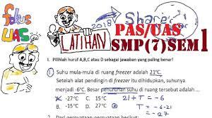 Soal ini bisa dipakai sebagai. Soal Pas Uas Matematika Smp Kelas 7 Semester 1 Pembahasan Penilaian Akhir Semester 40 Soal Youtube