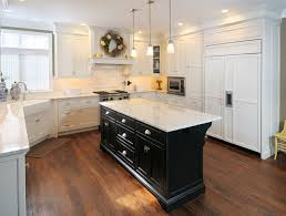 kitchen white cabinets black island photo 3