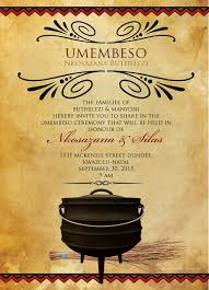 Traditional Wedding Invitation South African Traditional Wedding Invitation Card Umembeso Card