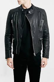 image of topman quilt lined black leather biker jacket