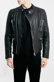 image of topman quilt lined black leather biker jacket