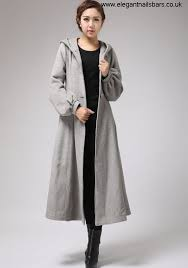 gray wool coat womens swing coat long coat for winter with hood agential and self 708 belt waist tie fikouv5678