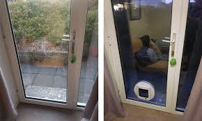 coastal glass was contacted by a couple from the skewen neath area who needed a cat flap installed in there rear door