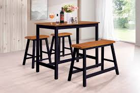 Naples 4 Piece Counter Height Kitchen Dinette Breakfast Pub Set Cherry Black Wood Contemporary Table 2 Stools Bench