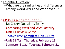 essential question what are the similarities and differences  essential question what are the similarities and differences among world war i and world war