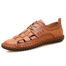 mens genuine leather summer shoes new beach men casual shoes outdoor hole sandals lace up brown