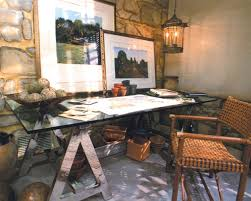 rustic office design. Exciting Rustic Interior Design With Hanging Lantern And Glass Desk Plus Rattan Chair For Home Office