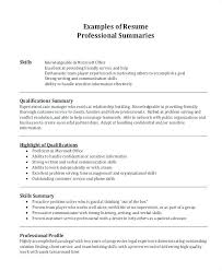 Summary For Resume Examples Interesting Resume Qualifications Samples Experience Summary In Resume Examples