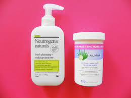 each day and night i wash my face with neutrogena naturals fresh cleansing makeup remover at night i start off by taking off my eye makeup with almay