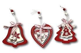 3 X Baumschmuck Anhänger Herz Glocke Tannenbaum Holzhänger