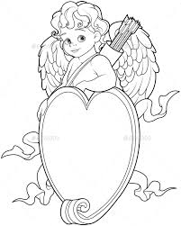 Small Picture Cupid Over a Heart Shaped Sign Coloring Page by Dazdraperma