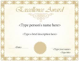 Award Of Excellence Certificate Template Special Certificates Award Template for Excellence 56