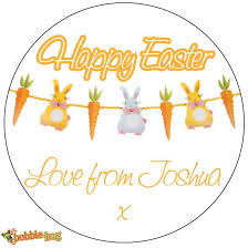 Thank You Easter Personalised Happy Easter Bunny Egg Chocolate Thank You Party Bag Gift Tag Sticker Ref E1