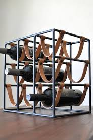 Arthur Umanoff for Raymor 9 Bottle Iron & Leather Wine Rack/Mid Century Modern  Wine