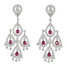 ruby diamond chandelier earring for