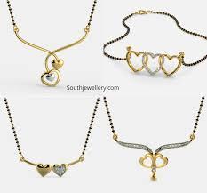 Light Weight Black Beads Light Weight Short Mangalsutra Necklaces With Cute Heart