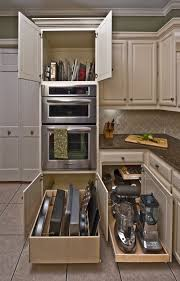 Simplistic Kitchen Appliance Organized In Cream Cabinetry System Added Pull  Out Kitchen Drawers Also Dark Marble Countertops As Well As Grey Tiled  Diagonal ...