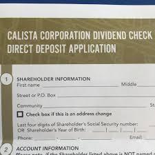 Calista Incentivizing Shareholders To Register For Direct Deposit