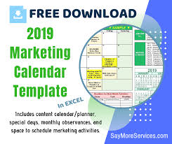 2019 Marketing Calendar Template In Excel Free Download Say More