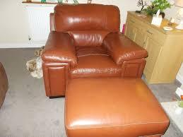 sisi italia brown italian leather armchair footstool