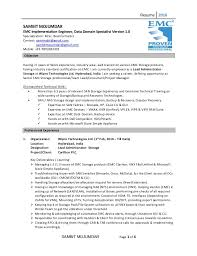 Resume 2016 SAMBIT MOJUMDAR EMC Implementation Engineer, Data Domain  Specialist Version 1.0 Specialization: M ...