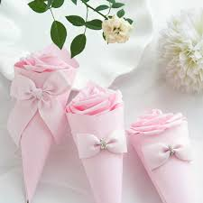 How To Make Paper Cones For Flower Petals Paper Cones Wedding Favors Flower Bow Candy Box Ice Cream Wedding