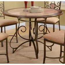 round dining table with faux marble top pedestal base f2061 image 1