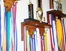 1 ft trophy and lanyard medal display rack