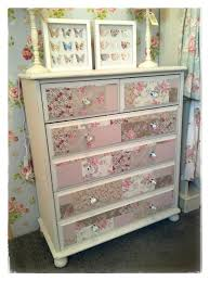 Hand painted pine chest of drawers with decoupaged drawer fronts using  fabric