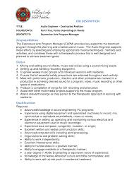 Audio Engineer Resume Cover Letter Contract Position Job Description