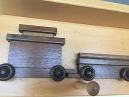 Train Coat Rack RAILROAD TRAIN COAT HOOK RACK Handmade Wooden Wall Peg with Storage 57