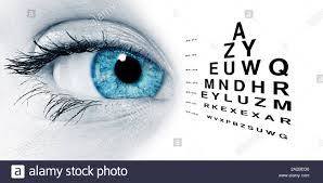 Blue Eye With Test Vision Chart Close Up Stock Photo