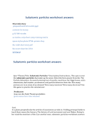 Subatomic Particles Chart Answers Subatomic Particles Worksheet Answers