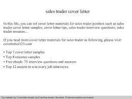 Samples Of Cover Page Sales Trader Cover Letter
