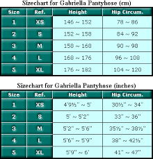 Tights Size Chart Size Chart For Gabriella Opaque Microfibre Tights 80 Den