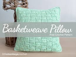 Free Crochet Pillow Patterns Beauteous Basketweave Throw Pillow Free Pattern Little Monkeys Crochet