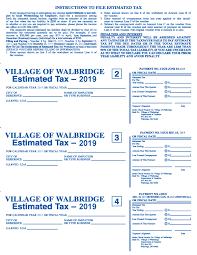 2018 estimated tax forms village of walbridge