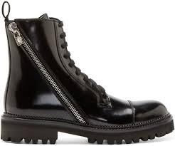 versus black patent leather combat boots