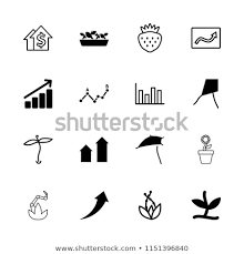 Dandelion Growth Chart Growth Icon Collection 16 Growth Filled Stock Vector