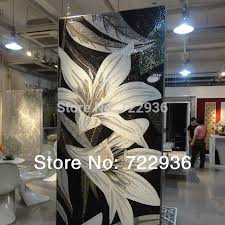 flower oil painting customized hand cut crystal mosaic wall tile puzzle glass tile mural senior