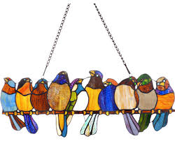 cora stained glass window panel contemporary birds on a wire stained glass pattern