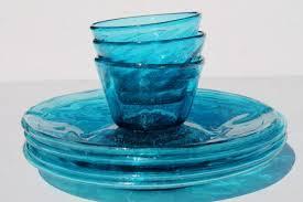 vintage mexican glass plates bowls hand blown aqua blue glassware dishes