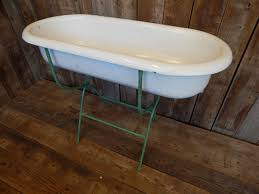 antique porcelain baby bath tub w folding stand vintage planter garden 5084