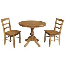 dining tables 36 round dining tables table with leaf and 2 chairs pecan 3