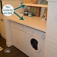 new countertop and shelf in laundry room at thehappyhousie