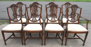 SOLD Set Of Eight Shieldback Mahogany Dining Chairs - Shield back dining room chairs