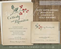 rustic winter wedding invitations suite holly berries handpainted Wedding Invitations Christmas rustic winter wedding invitations suite holly berries handpainted printable wedding stationery set digital file christmas wedding wedding invitations christian